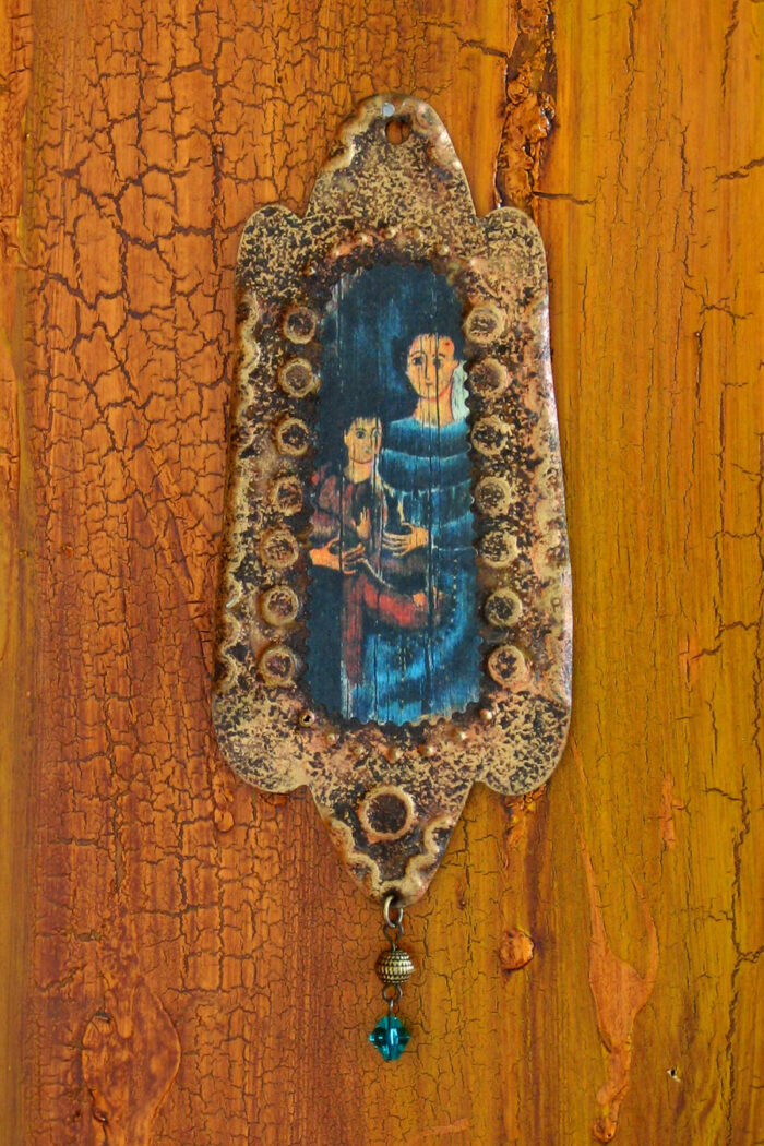Madonna and Child Rusty Retablo Ornament