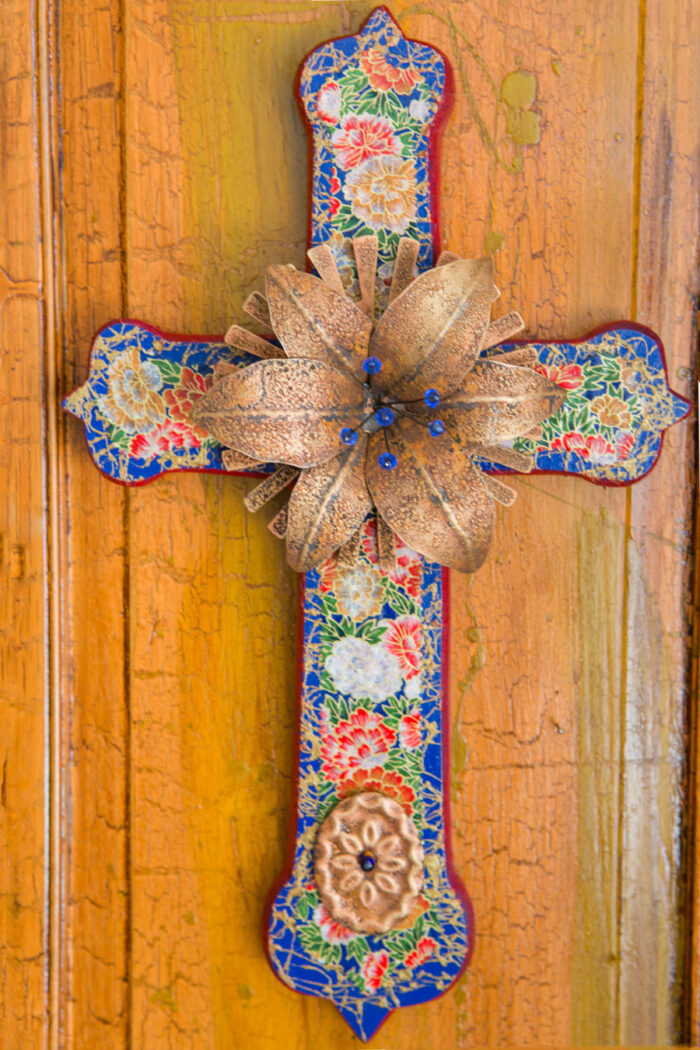 Wood Cathedral Cross With Sunburst Lily