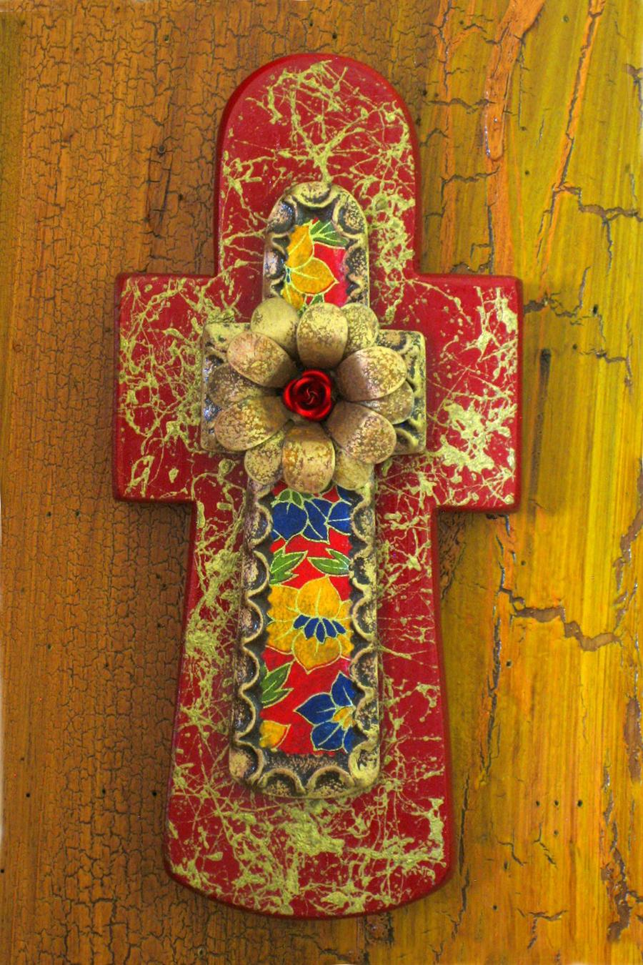 Gold Fiber Stone Cut Wood Stone Cross