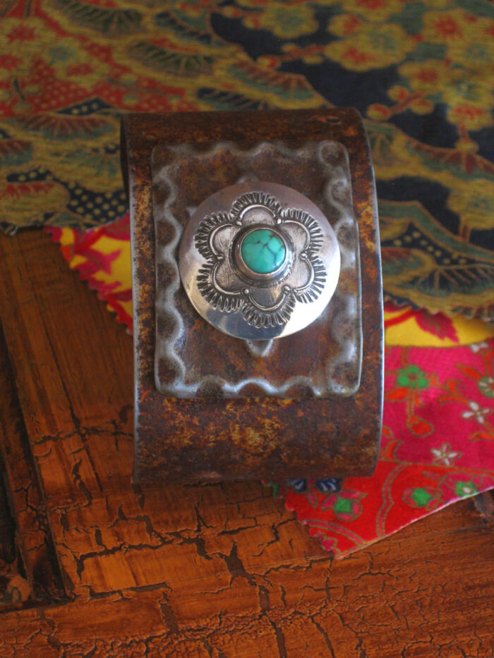 Turquoise Sterling Button Cuff A